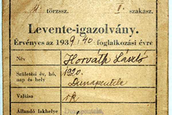 2016. ÁPRILIS HÓNAP MŰTÁRGYA  -  LEVENTE IGAZOLVÁNY DUNAPENTELÉRŐL