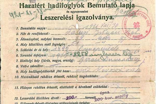 2018. ÁPRILIS HÓNAP MŰTÁRGYA - HAZATÉRT HADIFOGLYOK BEMUTATÓ LAPJA  ÉS LESZERELÉSI IGAZOLVÁNYA