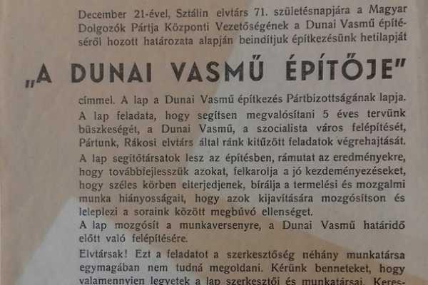 2019. AUGUSZTUS HÓNAP MŰTÁRGYA - A DUNAI VASMŰ ÉPÍTŐJE, AZ ÉPÍTKEZÉS HETILAPJA, PROPAGANDA 1950-BŐL